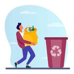 Personnage qui tri ses déchets